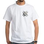 Titanium Chrome Biker Cross White T-Shirt