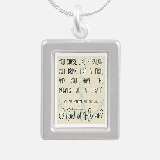 Maid of Honor Silver Portrait Necklace