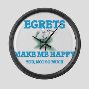 Egrets Make Me Happy Large Wall Clock