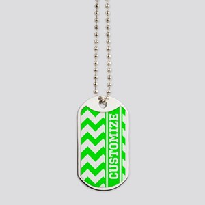 Monogram Neon Green Chevron Stripe Dog Tags