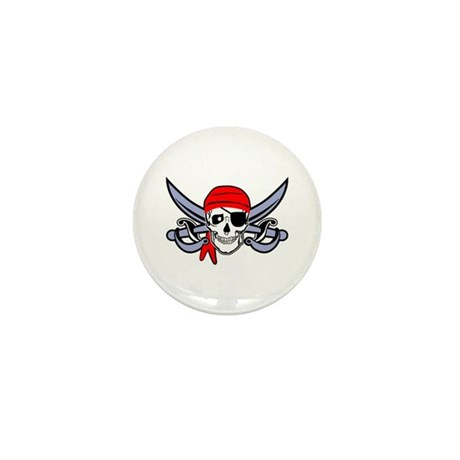 Pirate - Skull with Crossed Swords Mini Button (10