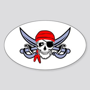 Pirate - Skull with Crossed Swords Sticker (Oval)