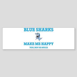 Blue Sharks Make Me Happy Bumper Sticker