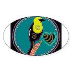 yellow-headed blackbird Oval Sticker