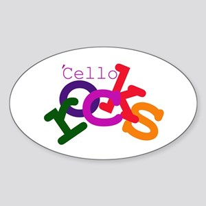 'Cello Rocks Oval Sticker