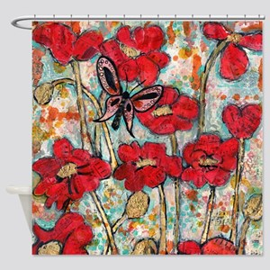 Butterfly Poppies Shower Curtain