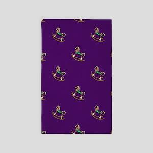 Rocking Horses On Purple 3'x5' Area Rug