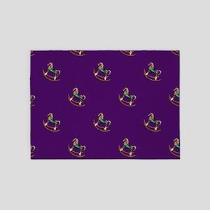 Rocking Horses On Purple 5'x7'area Rug