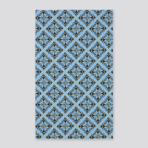 Blue And Brown Damask 3'x5' Area Rug