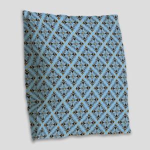 Blue And Brown Damask Burlap Throw Pillow