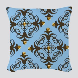 Blue And Brown Damask Woven Throw Pillow