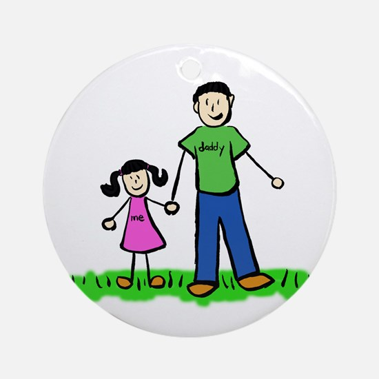 Father and Daughter (Black Hair) Ornament (Round)