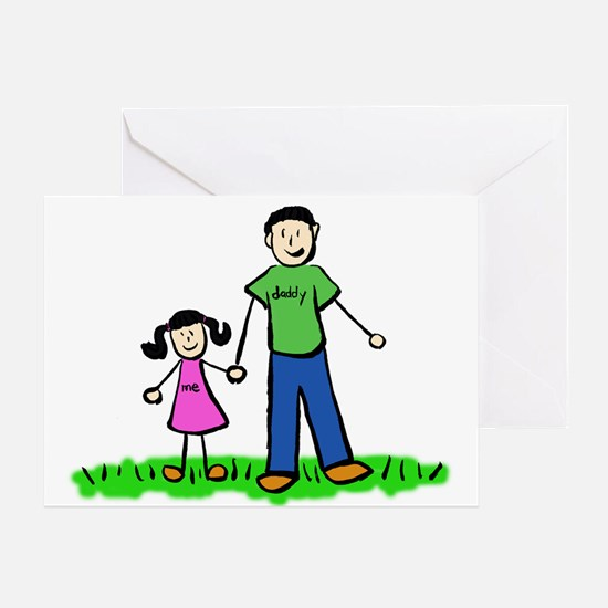 Father and Daughter (Black Hair) Greeting Cards