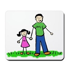 Father and Daughter (Black Hair) Mousepad
