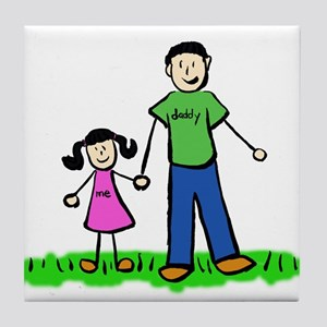 Father and Daughter (Black Hair) Tile Coaster