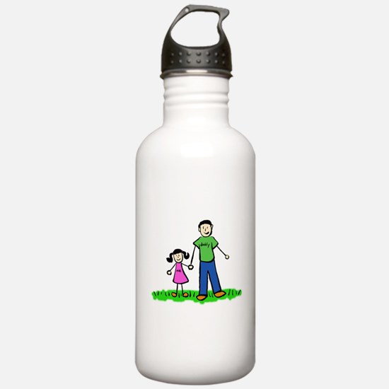 Father and Daughter (Black Hair) Water Bottle