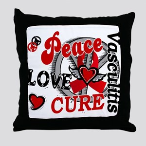 Vasculitis Peace Love Cure 2 Throw Pillow