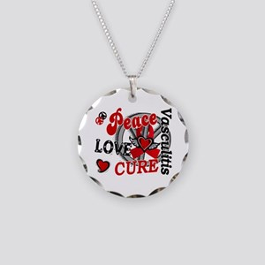 Vasculitis Peace Love Cure 2 Necklace Circle Charm