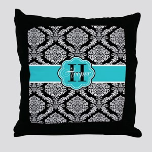 Black Teal Damask Personalized Throw Pillow