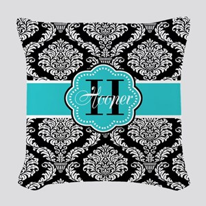 Black Teal Damask Personalized Woven Throw Pillow