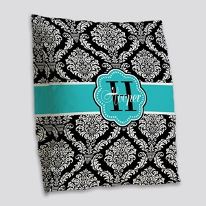 Black Teal Damask Personalized Burlap Throw Pillow