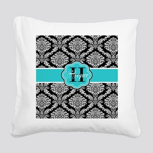 Black Teal Damask Personalized Square Canvas Pillo