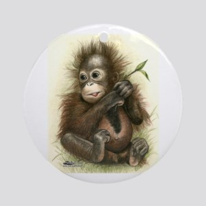 Orangutan Baby With Leaves Ornament (round)