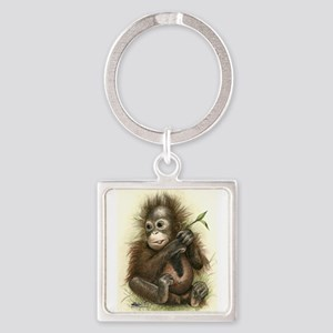 Orangutan Baby With Leaves Keychains