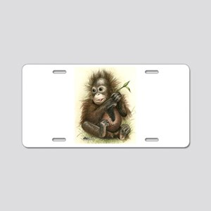 Orangutan Baby With Leaves Aluminum License Plate