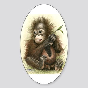 Orangutan Baby With Leaves Sticker