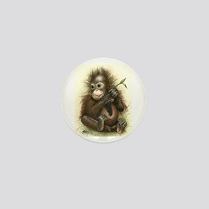 Orangutan Baby With Leaves Mini Button