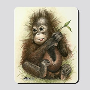 Orangutan Baby With Leaves Mousepad