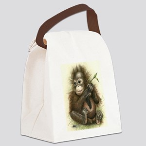 Orangutan Baby With Leaves Canvas Lunch Bag