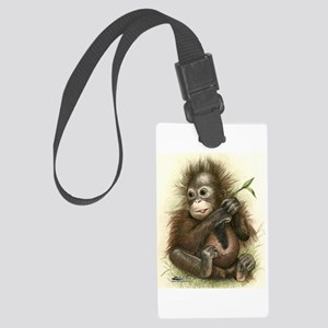 Orangutan Baby With Leaves Large Luggage Tag