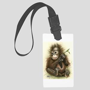 Orangutan Baby With Leaves Large Luggage Tag