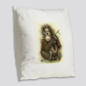 Orangutan Baby With Leaves Burlap Throw Pillow