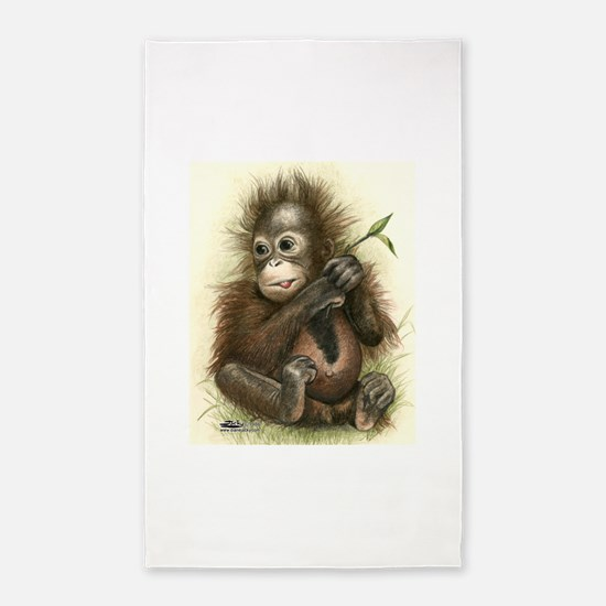 Orangutan Baby With Leaves 3'x5' Area Rug