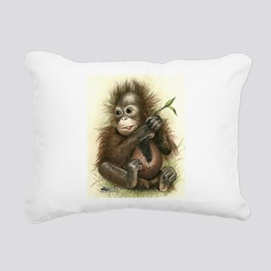 Orangutan Baby With Leaves Rectangular Canvas Pill