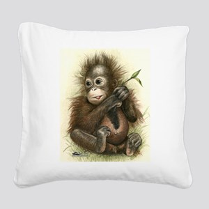 Orangutan Baby With Leaves Square Canvas Pillow