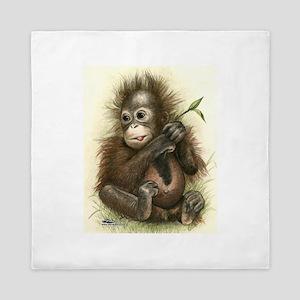 Orangutan Baby With Leaves Queen Duvet