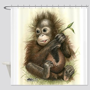 Orangutan Baby With Leaves Shower Curtain
