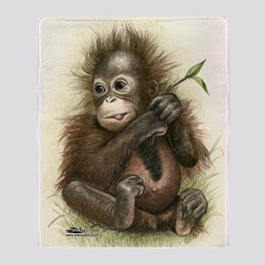 Orangutan Baby With Leaves Throw Blanket