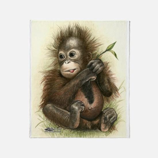 Orangutan Baby With Leaves Throw Blanket