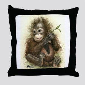 Orangutan Baby With Leaves Throw Pillow