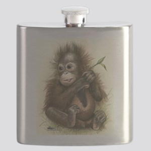 Orangutan Baby With Leaves Flask