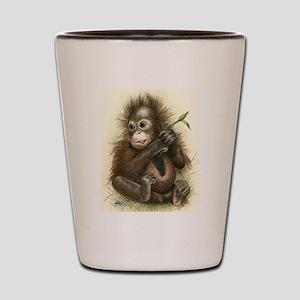Orangutan Baby With Leaves Shot Glass