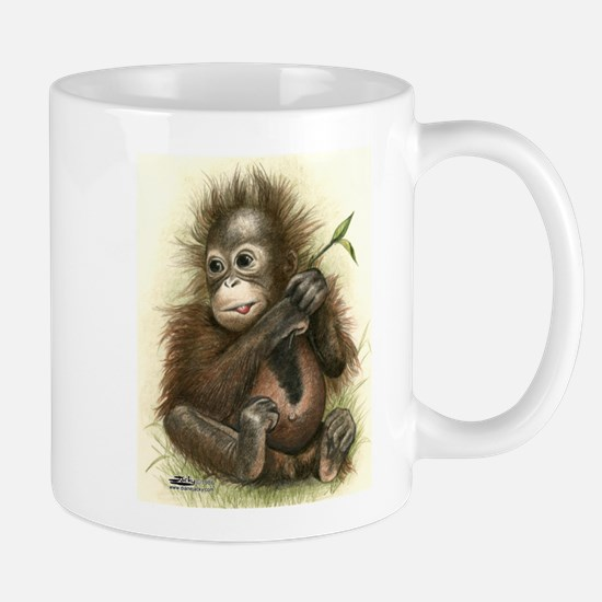 Orangutan Baby With Leaves Mugs