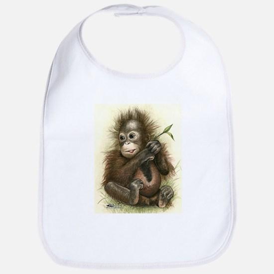 Orangutan Baby With Leaves Bib