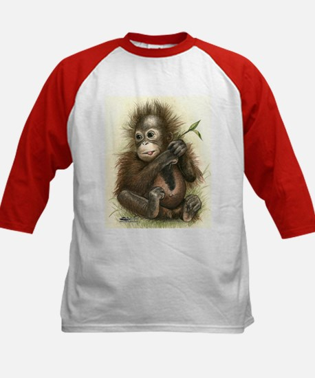 Orangutan Baby With Leaves Baseball Jersey