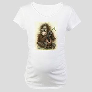 Orangutan Baby With Leaves Maternity T-Shirt